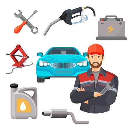 worker working: Car service set. Worker near expensive automobile and working tools