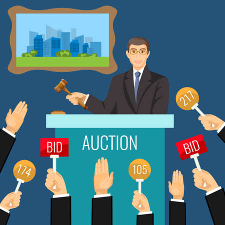 bidder: Auction process with man holding wooden gavel behind special stand Illustration