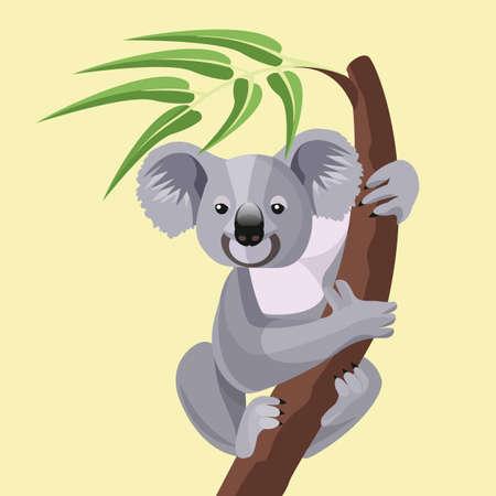 Grijze die koala op houten tak met groene bladeren wordt geïsoleerd