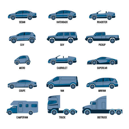 motor vehicle: Automobile set isolated. Car models of different sizes or capabilities Illustration