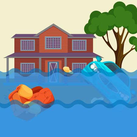 Flut realistische Naturkatastrophe Vektor-Illustration. Ferienhaus, Auto, Bäume