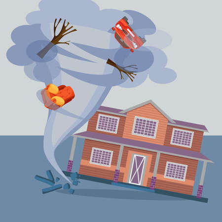 Tornado twisted cottage house, trees, car and pieces of furniture. Illustration