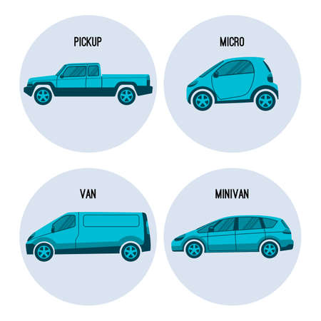 smallest: Pickup truck with enclosed cab and open cargo area, Microcar smallest in automobile classification, van road vehicle used for transporting goods or people, minivan multi-purpose vehicle vector