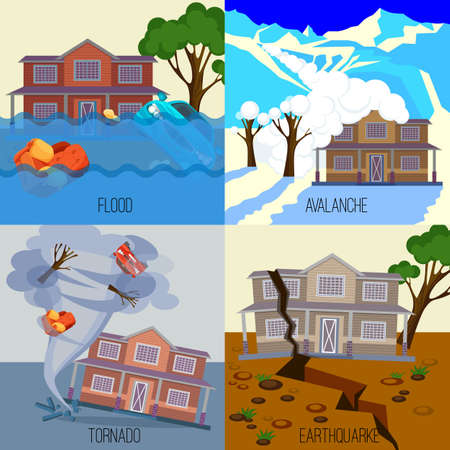 Set of natural disasters banners realistic vector illustrations. Snow avalanche in mountains. Flood on city streets. Tornado twisted cottage house. Earthquake destroy everything