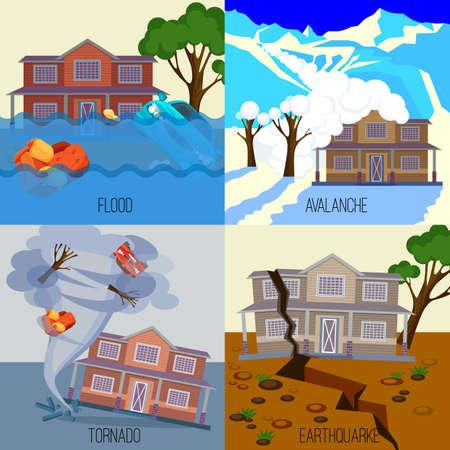 Set di disastri naturali banner illustrazioni vettoriali realistiche. Valanga di neve in montagna. Inondare sulle strade della città. Tornado torreggiata casa di villeggiatura. Il terremoto distrugge tutto