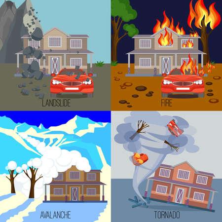 Conjunto de desastres naturales Banderas de ilustraciones vectoriales realistas. avalancha de nieve en las montañas. Deslizamiento de tierra causado por los movimientos de tierra. Casa en llamas en el fuego. Tornado torcer casa