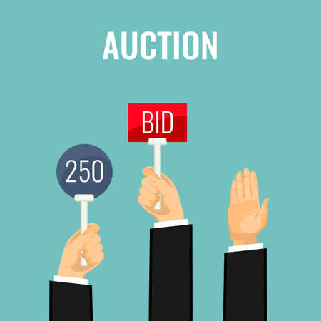 Auction with hands holding paddles number and BID inscriptions vector Stock Illustratie