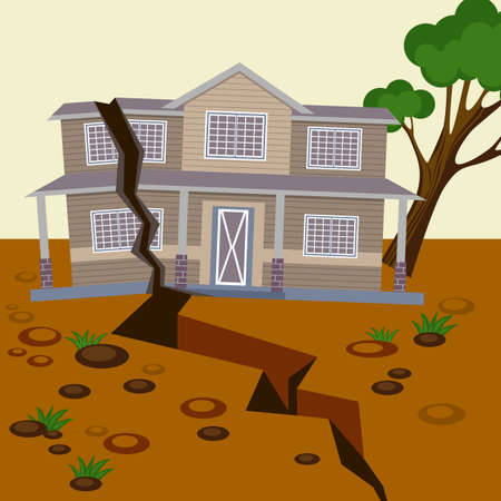 Aardbeving beschadigd huis en grond gesplitst in twee delen