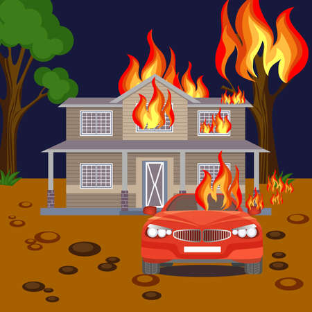 Fire banner reaistic vector. Burning house, red automobile and tree