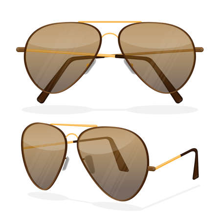 057651b1f79 Aviator sunglasses isolated on white. Dark brown reflective lense
