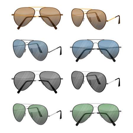 Aviator sunglasses isolated on white. Dark brown reflective lense