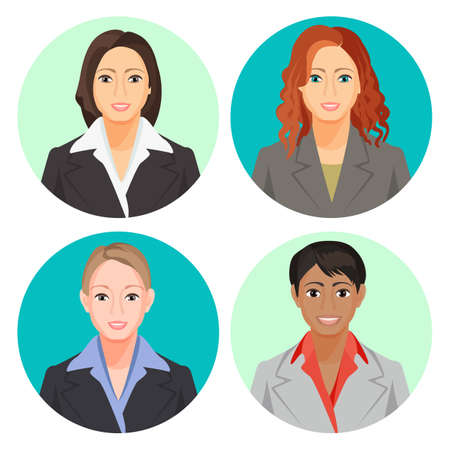 Avatar businesswoman portraits in four circles. Vector user pics Stock Photo