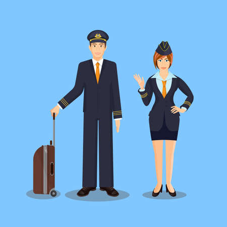 Pilot with brown suitcase and stewardess waving hand Illustration