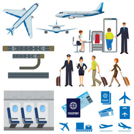 Vector flying passenger aircrafts, plane, check-in, pilot and stewardess