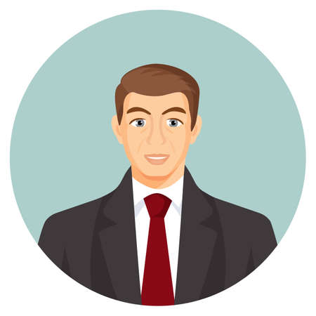 userpic: Businessman avatar. Man in suit with blue tie. Human profile userpic with face features. Web picture of gentlemen in round button. Chife or boss avatar