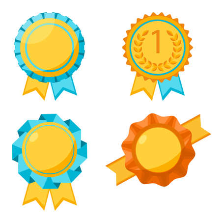 awarding: Award golden round signs collection. Elements for awarding winners