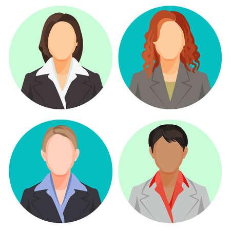 Avatar empresaria retratos en cuatro círculos. Fotos de usuarios de vectores Foto de archivo