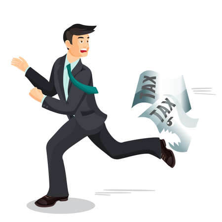 run away: Man escaping from taxes. Tax dodging, non-payment concept.