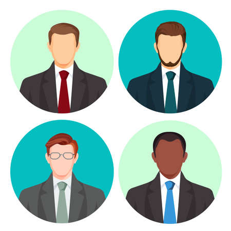 grey backgrounds: Businessman avatar four pictures vector set on white. Male people with light and dark skin, with moustache and glasses, in business costumes with red, green, blue or grey ties on round backgrounds