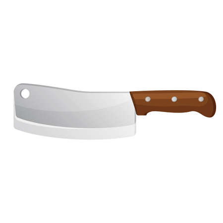 carving: Meat knife isolated on white. Cleaver steel axe side view