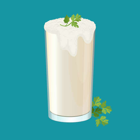 Glass of ayran with dill and parsley herbs isolated on white.