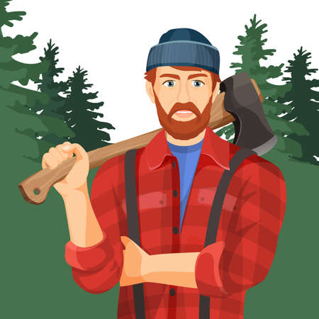 lumberman: Axeman with axe in forest. Lumberman with element for woodworking