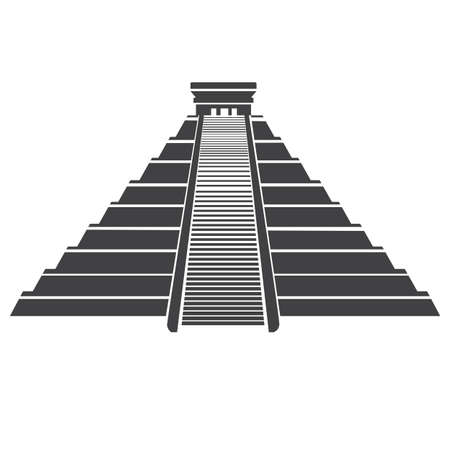 Aztec pyramid icon isolated on whit. Mayan landmark in Mexico