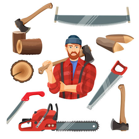 wooden cut: Realistic vector illustration of carpentry items for sawing wood