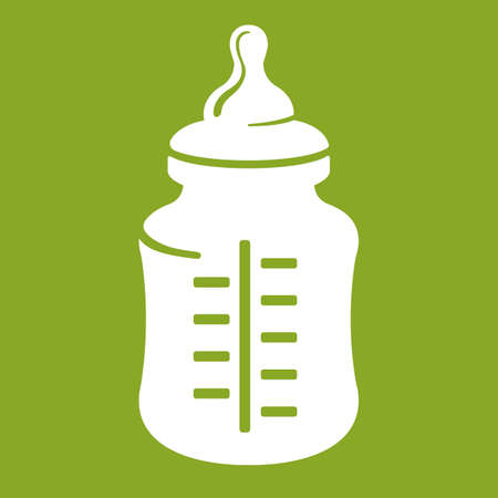 teat: Baby bottle icon isolated on green background. Realistic vector illustration Illustration