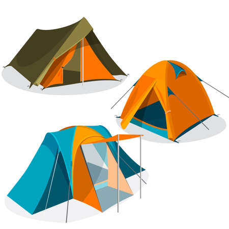 nylon: Awning tourist camping tents icons collection. Hiking pavilions vector illustration