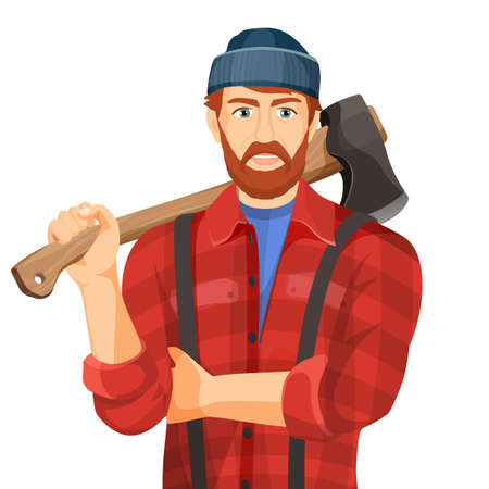 Axeman with wooden axe isolated on white background. Lumberman Stock Vector - 74960648
