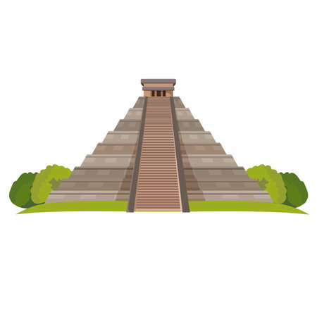 Aztec pyramid with green bushes at base isolated on white. Realistic vector Illustration