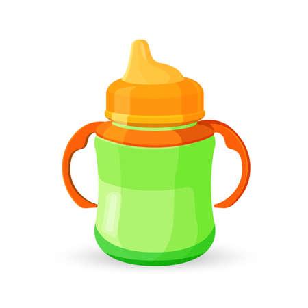 Biberon coupe orange vert translucide bol avec du lait Banque d'images - 74999597