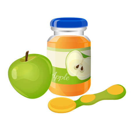 Glass jar of puree with spoon and green apple near. Illustration