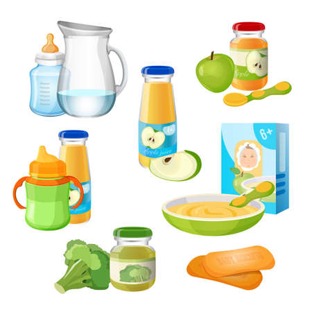puree: Organic food for babies vector poster. Juices and apple purees.