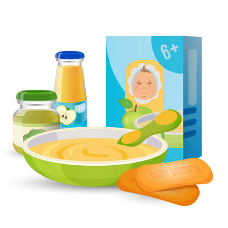 puree: Healthy breakfast for baby with porridge and biscuits.