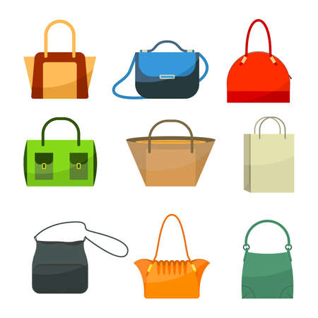 personal accessories: Ladies bags icons flat design isolated on white. Colorful accessories.