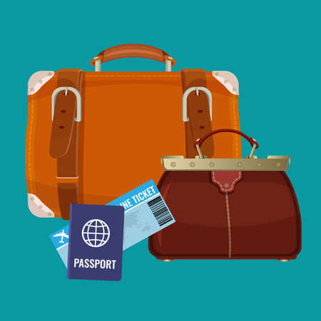 valise: Leather luggage case, carryon bag near travelling tickets and passports