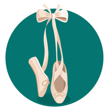 Black and white pointes female ballet shoes on white background.