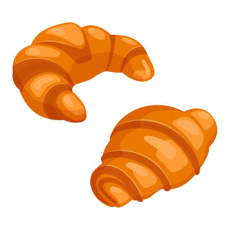 puff pastry: Two croissants bake puff pastry color flat design on white