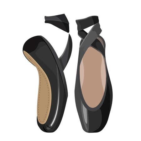 Bianco e nero punti femminile balletto scarpe su sfondo bianco.