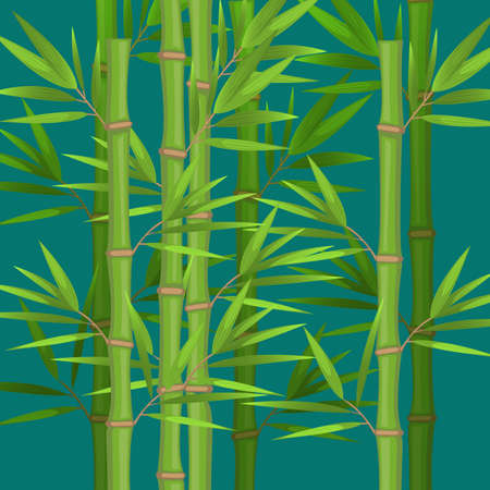 Stalks of bamboo with green leaves flat theme in realistic Illustration