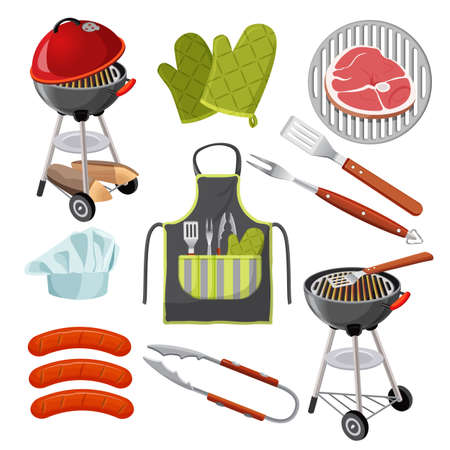 grill meat: Grill, mittens, fresh meat on grid, sausages, shovel, fork
