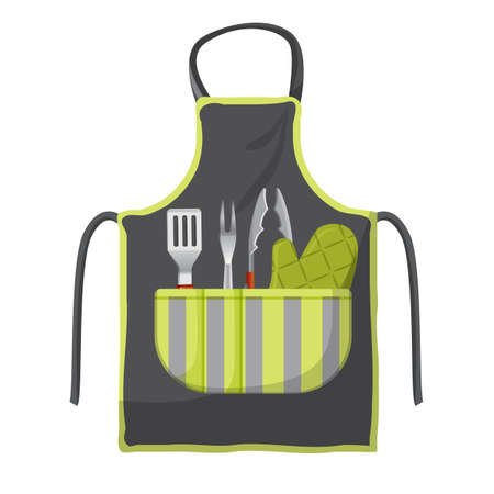 Black apron with various accessories in pocket for grill isolated Illustration