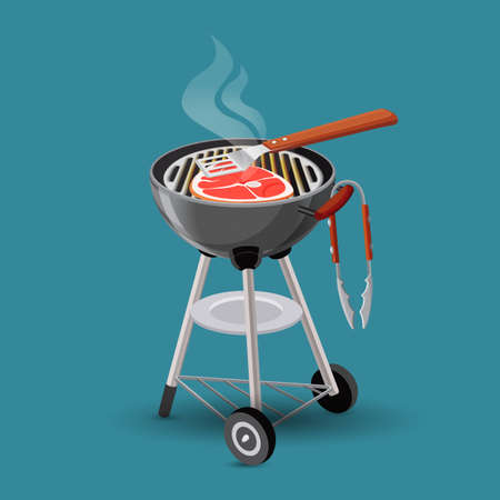 grill meat: Meat fried on barbecue grill icon in cartoon style isolated