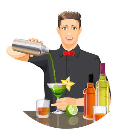 barkeeper: Male bartender making cocktail vector flat realistic picture