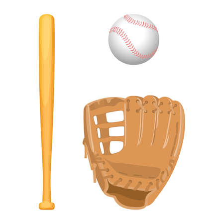teamsport: Baseball equipment colorful vector flat set on white Illustration