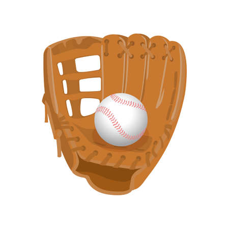teamsport: Leather glove, white leather ball in realistic style