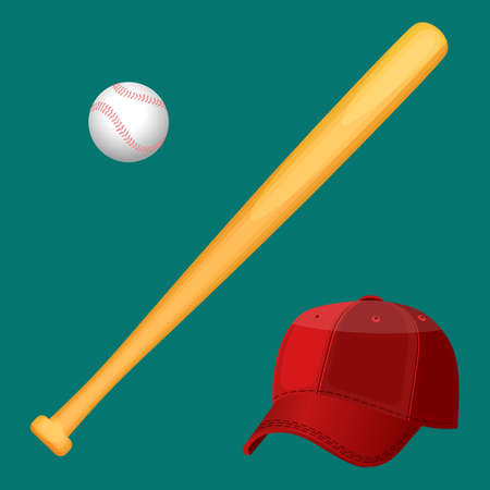 teamsport: Baseball cap, wooden special bat and ball in realistic style