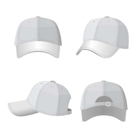 brim: Baseball white caps in front side and back view isolated